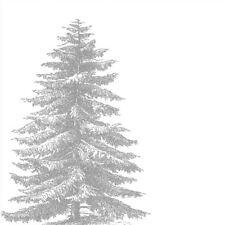 Blanco Plata árbol de Navidad Paquete de 20 Servilletas Servilletas 33cm x 33cm