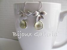 Silver Plated Orchid with Pale Lemon Gemstone Teardrop Dangle Drop Earrings.