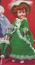 Vintage Crochet PATTERN to make 11 inch Doll Clothes Shamrock Dress Hat Umbrella