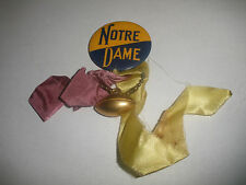 """RARE VINTAGE 1940-50`S NOTRE DAME 1 3/4""""  PIN WITH FOOTBALL AND RIBBON  BUTTON"""