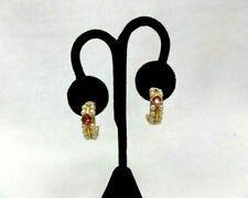 RICHELIEU Gold Tone Faux Pearl Half Hoop Earrings Vintage