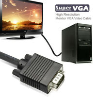 Super VGA Male Monitor Cable with Ferrites  6ft 10ft 15ft 25ft 30ft For PC HDTV