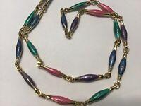 Vintage Enamel Link Necklace Pink Green Blue Purple Gold Tone 22 Inch
