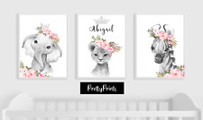 Elephant Animal Baby Nursery Prints Set Bedroom Wall Art Pictures Decor Gift