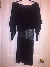 NWT Miss Sixty Diamond Blk Batwing Sleeve Belt Mesh Party Birthday Club Dress S