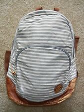 ROXY Striped Brown LEATHER BOTTOM BACKPACK School Book Bag Hiking Camping Travel