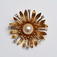 Brosche 585 Gold Gelbgold Weißgold Perle Zirkone Blume Unikat 8,3 g Handarbeit