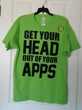 "Men  T- Shirts ""GET YOUR HEAD OUT OF YOUR APPS"" SZ 2XL GREEN 100% cotton"