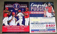 2017 Dr. Pepper TEXAS RANGERS  Awards Dinner Program + PUDGE RODRIGUEZ H.O.F.