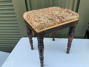 Vintage wood stool fabric covered seat top S2E230721A