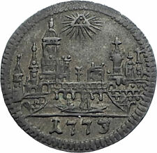 1773 GERMANY German States FRANKFURT Free State Antique OLD Kreuzer Coin i82454