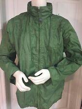 LAND'S END Women's RAIN Wind JACKET Size M 10-12 Green 100% Nylon w/HOOD Green
