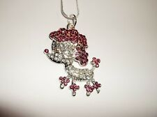 POODLE DOG Inspired Large Charm NECKLACE With Rhinestomes Snake Chain