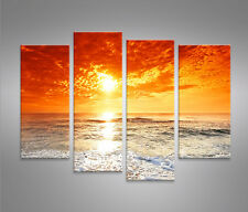 Sonnenuntergang 4er Bilder Bild auf Leinwand Wandbild Kunstdruck Poster Meer