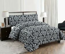 Luxurious 3PCS Quilted Jacquard Bedspread Single,Double,King,Superking & Curtain