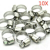 10x Stainless Steel Hose Clamp Set Adjustable Worm Gear Assortment Drive Clamps