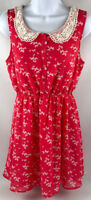 Forever 21 Women's Dress Crocheted Peter Pan Collar Coral Butterfly Size S A1710