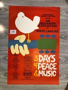 Original Woodstock Poster 1969 Music Festival Arnold Skolnick VGcd AUTHENTIC
