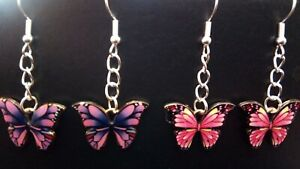 2 Beautiful Pairs of Enamel Purple and Pink BUTTERFLY Dangle Earrings Ideal Gift