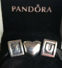 GENUINE PANDORA LETTERS I U & HEART CHARMS PANDORA 3 SET RETIRED PANDORA CHARMS