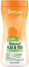 TropiClean Natural Flea & Tick for Carpet Powder Made in USA 11oz - 550 sq ft