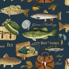 VelvaFleece Gone Fishing Trophy Fish Fleece Fabric Print by the Yard A235.03