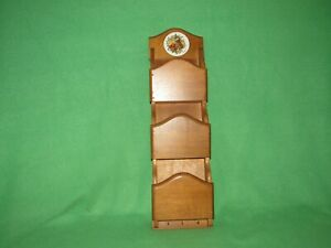 Vintage 3 Tier Wooden Wall Organizer Bills Letters Misc. with 3 Key Hooks Holder