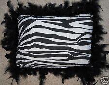 Zebra Pillow Feathers Trim 13 x 9 Animal Black White