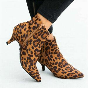 Women Ankle Boots Low Mid Kitten Heels Shoes Pointy Toe Bootie Zip Leopard Grain