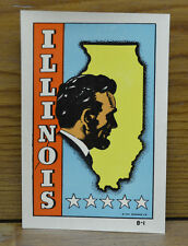 ORIGINAL VINTAGE TRAVEL DECAL ILLINOIS ABRAHAM LINCOLN BUST MAP AUTO OLD TRAILER