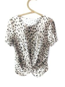 Forever New Women's Brown White Leopard Print Front Knot Short Sleeve Top Medium