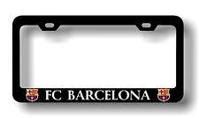 "Black ""FC BARCELONA"" License Plate Frame, Custom Made of Powder Coated Metal"