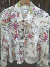 Coldwater Creek Linen Rayon White Lined Jacket w/European Scenes Sz XLG