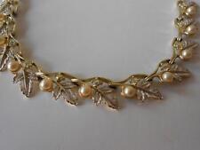 Vintage Judy Lee Faux Pearl Leaf Necklace Aurora Borealis AB Rhinestones