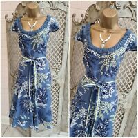 MONSOON UK 10 Blue Floral Print Belted Fit & Flare Dress Retro 40s Summer