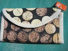 Textile wallet, black / cream, spot design, zipped slots, loop, Brazil, gift NEW