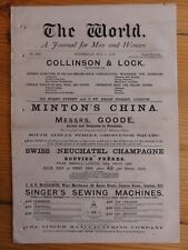 1st May 1878 THE WORLD A Journal for Men & Women NEWSPAPER Social Political
