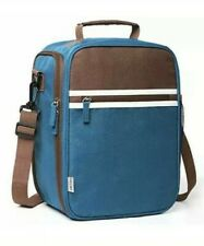 Lunch Bag Insulated Adult Lunch Box with Shoulder Strap Reusable Blue and Brown