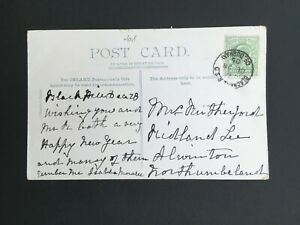 GB 1905 BLACKHILL R.S.O. POSTMARK ON POSTCARD TO LOCAL