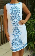 MARKS & SPENCER WHITE COTTON SUMMER SHIFT DRESS WITH BLUE EMBROIDERY SIZE 8