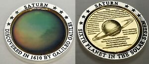 3D Gold Saturn Planet Movable Coin Silver Rings Solar System Space Sci Fi Unique