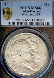German States Baden 1906 5 Mark Coin Thaler PCGS MS 66 Taler STG UNC WEDDING
