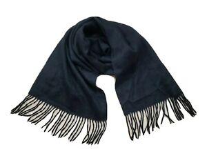 Club Room 100% Cashmere Black Unisex Neck Wrap Scarf w Tassel Fringe