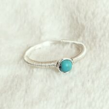 Turquoise Sterling Silver Wire Wrapped Ring Handmade Size M