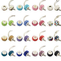 100pcs Polymer Clay Paved Rhinestone European Beads Large Hole Rondelle 11~12mm