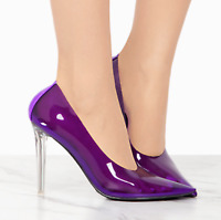 Cape robbin Nuclear Kim k Purple Transparent Clear Pointed Stiletto High Pumps