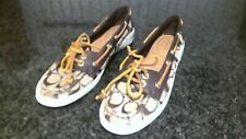 Coach Women's $120 Richelle Topsider Boat Shoes Size 7B Canvas & Leather