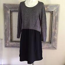 Lane Bryant Womens Dress 14 16 Knee Length Silver Long Sleeve Knit Sweater