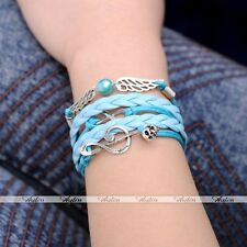 Leather Charm Multilayer Bracelet Jewelry Silver Infinity Music Note Wings Pu