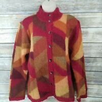 Talbots Size L Cardigan Sweater Red Orange Brown Mohair Blend Fuzzy Mock Neck